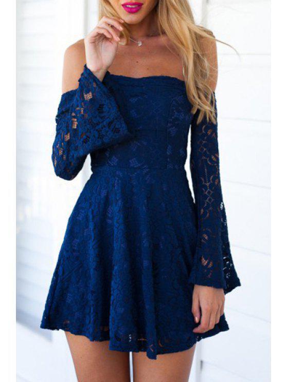 shop Blue Lace Off The Shoulder Flare Dress - BLUE S