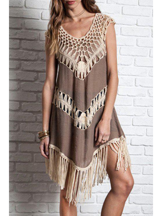 ladies Sleeveless Crochet Splicing Dress - COFFEE S