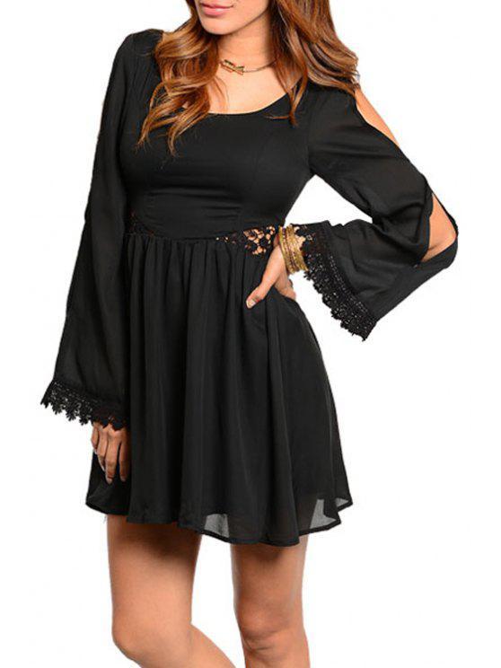 fashion Black Hollow Out A Line Chiffon Dress - BLACK L