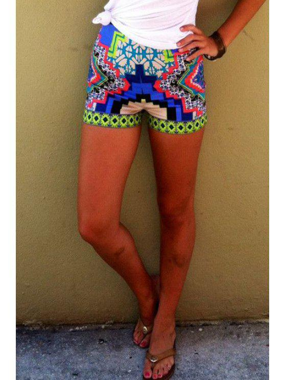 shop Color Block Geometric Print Shorts - AS THE PICTURE S