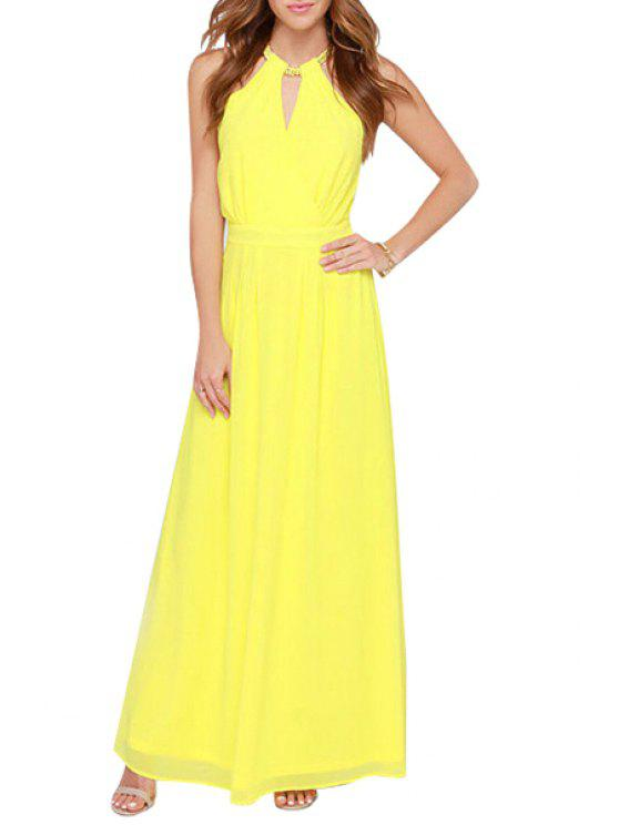 sale Yellow Keyhole Neckline Maxi Dress - YELLOW S