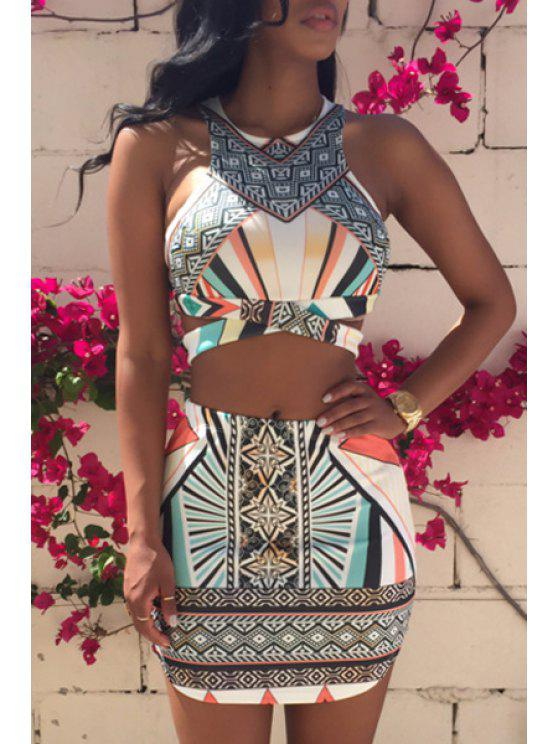 sale Argyle Printed Sleeveless Tank Top + Stripe Skirt - COLORMIX S