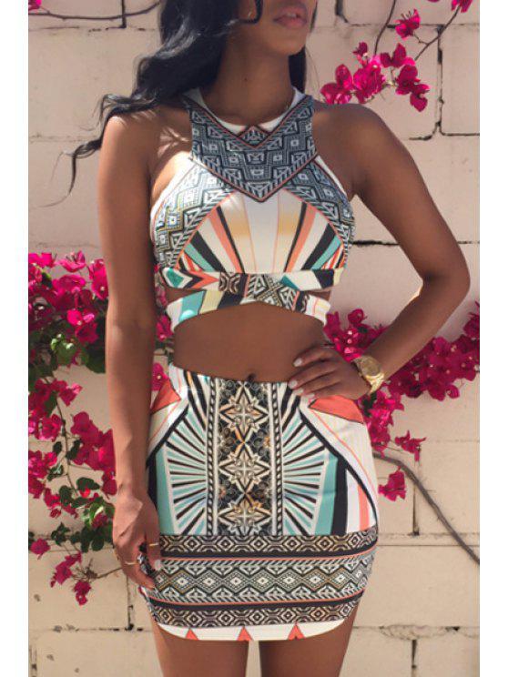 sale Argyle Printed Sleeveless Tank Top + Stripe Skirt - COLORMIX S