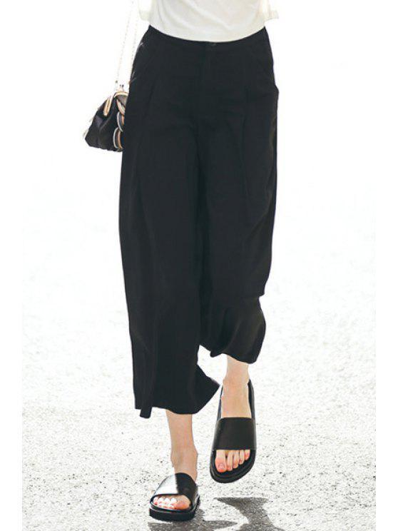 shop Wide Leg Solid Color Capri Pants - BLACK S