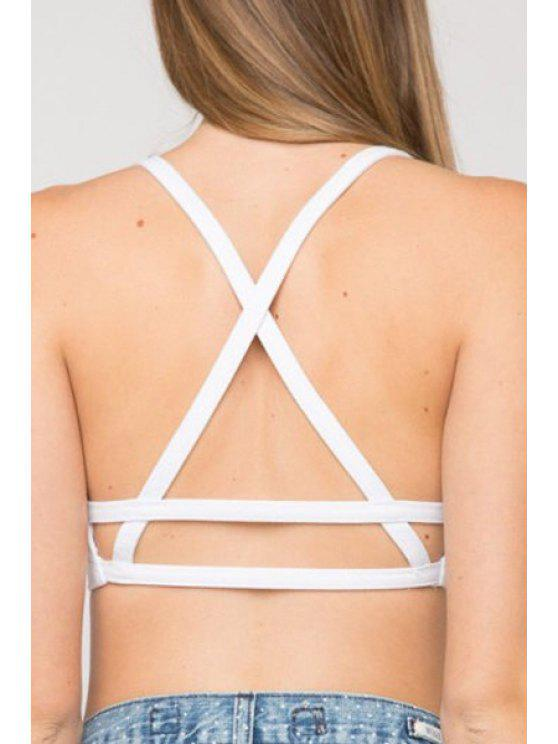 lady Spaghetti Strap Cross Backless Tube Top - WHITE S