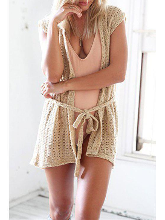 outfits Collarless Crochet Flower Solid Color Blouse - KHAKI ONE SIZE(FIT SIZE XS TO M)