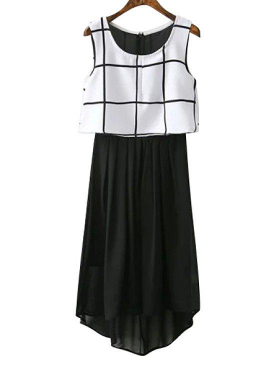 hot Chiffon Checked Spliced Sundress - WHITE AND BLACK S
