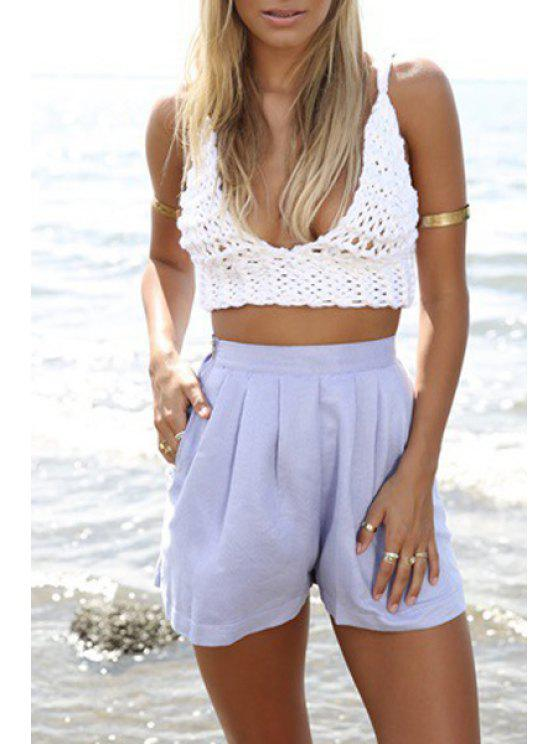 women's Spaghetti Strap Handwork Knitted Solid Color Crop Top - WHITE ONE SIZE(FIT SIZE XS TO M)