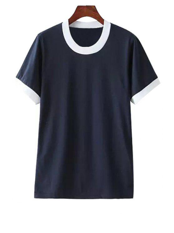 womens Short Sleeves Color Block T-Shirt - CADETBLUE XS