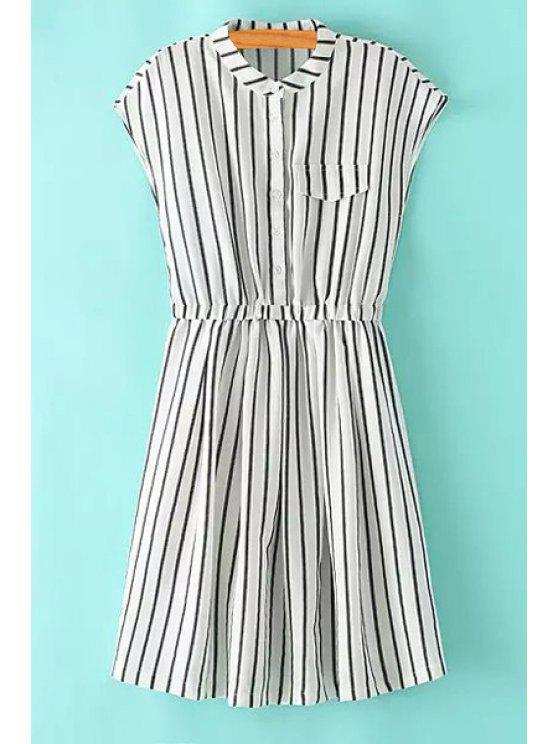 sale Striped Stand Neck Sleeveless Dress - STRIPE L