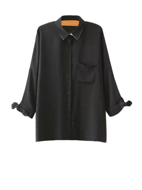 sale Nine-Minute Sleeve Solid Color Shirt - BLACK S