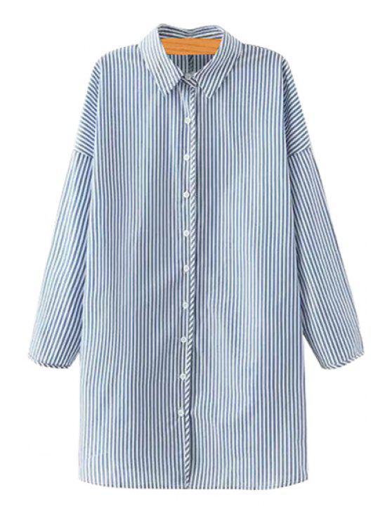 ladies Stripes Shirt Collar Long Sleeve Shirt - LIGHT BLUE S