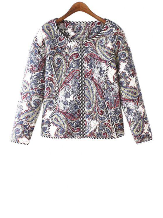 affordable Paisley Print Zipper Fly Long Sleeve Coat - COLORMIX S