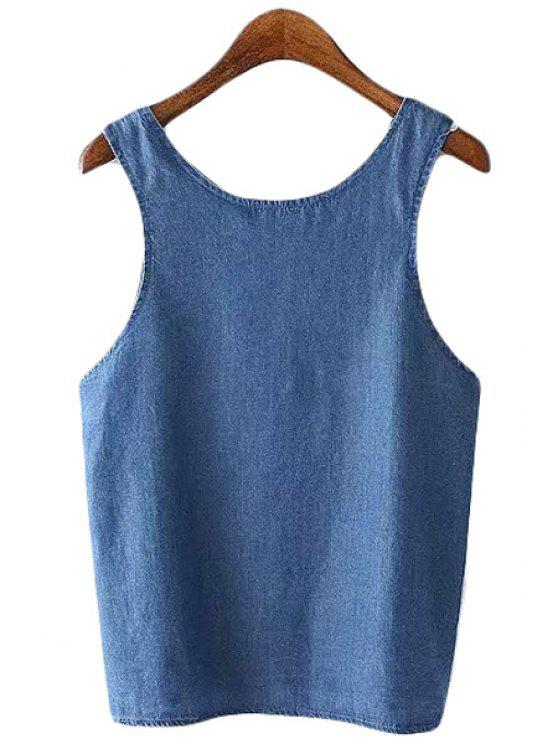 latest Blue Denim Backless Tank Top - BLUE S