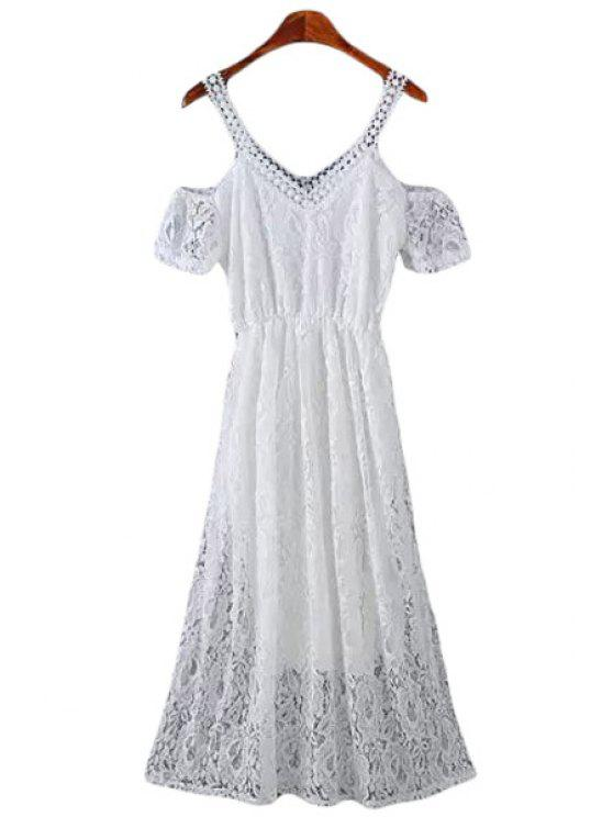 women's Lace Short Sleeve Off The Shoulder Dress - WHITE M