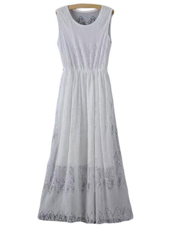 fashion Lace Scoop Neck A Line Maxi Sundress - WHITE M