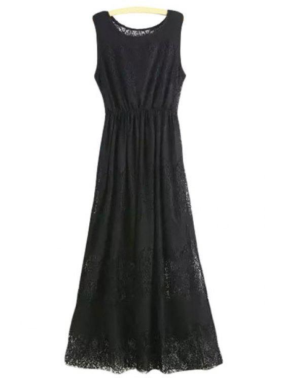 unique Lace Scoop Neck A Line Maxi Sundress - BLACK L