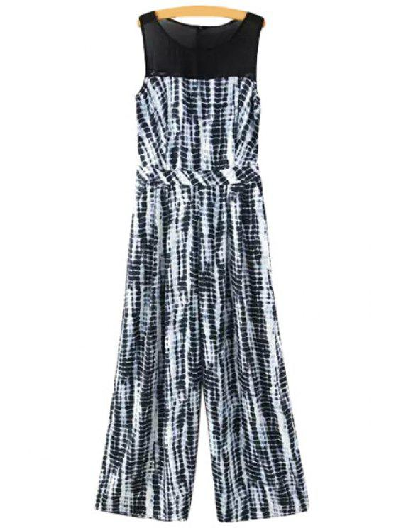 shop Chiffon Spliced Sleeveless Jumpsuit - WHITE AND BLACK S