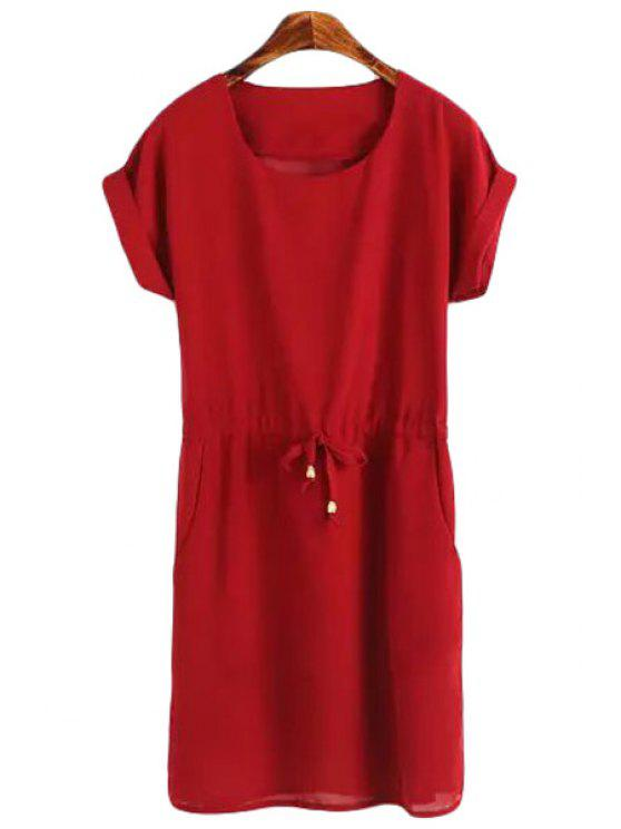 new Short Sleeve Solid Color Chiffon Dress - RED M