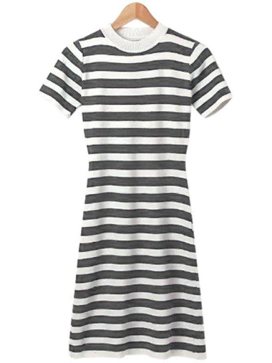 fashion Stripe Back Slit Short Sleeve Knit Dress - GRAY ONE SIZE(FIT SIZE XS TO M)