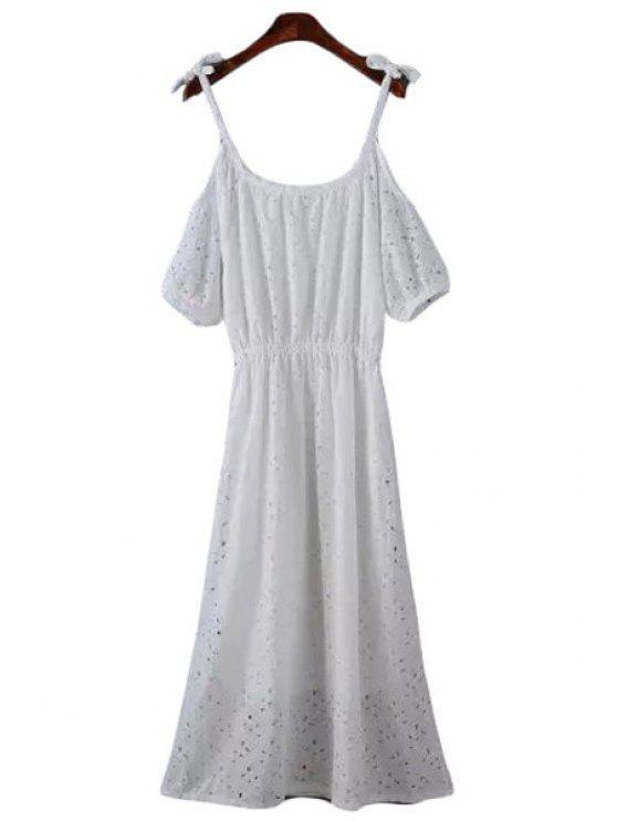 sale Lace Spaghetti Strap Short Sleeve Maxi Dress - WHITE M