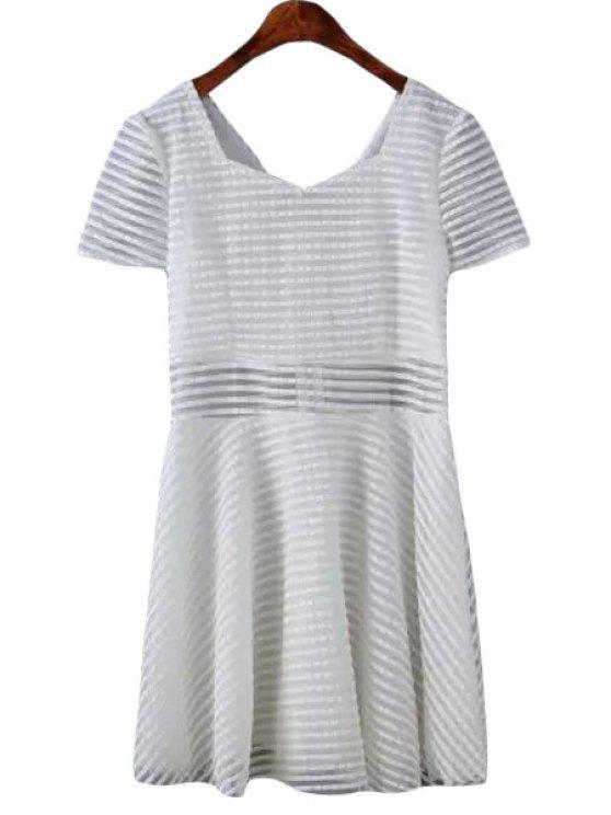 latest Stripes Short Sleeve A Line Dress - WHITE S