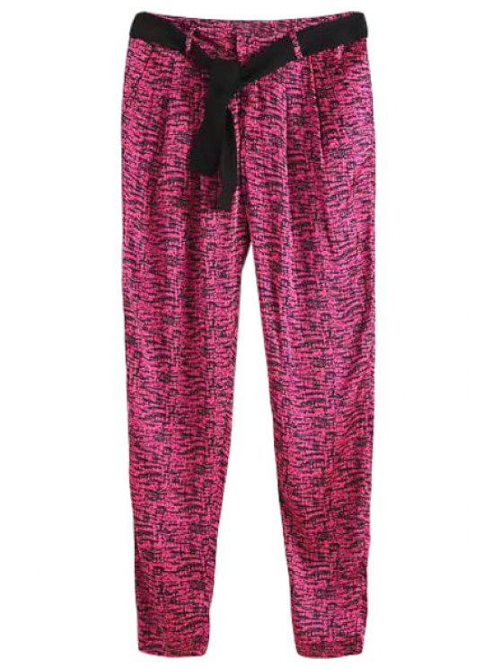 best Pink Print Narrow Feet Pants - PINK ONE SIZE(FIT SIZE XS TO M)