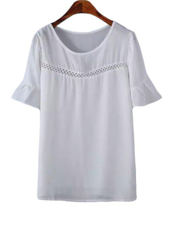 outfits White Short Sleeve Chiffon Blouse - WHITE S