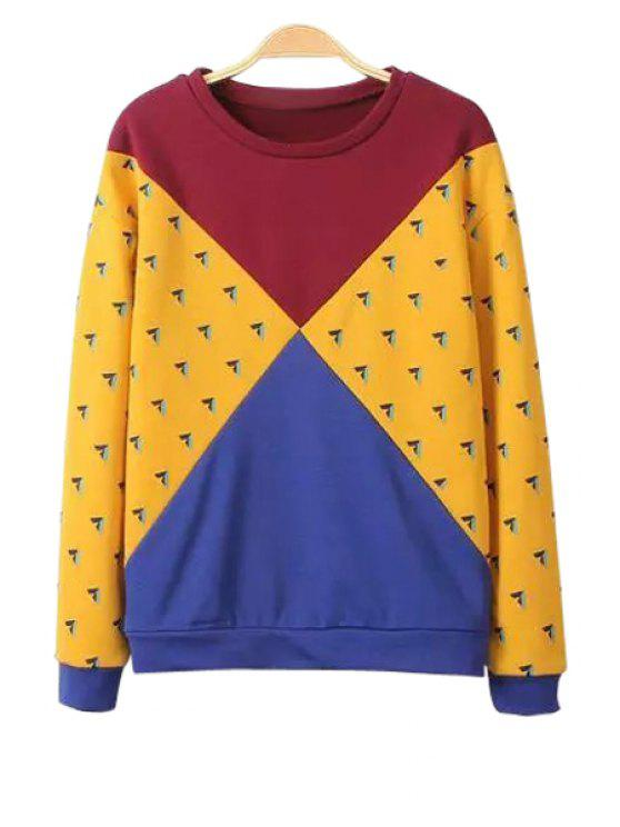 womens Jewel Neck Color Block Splicing Sweatshirt - COLORMIX XS