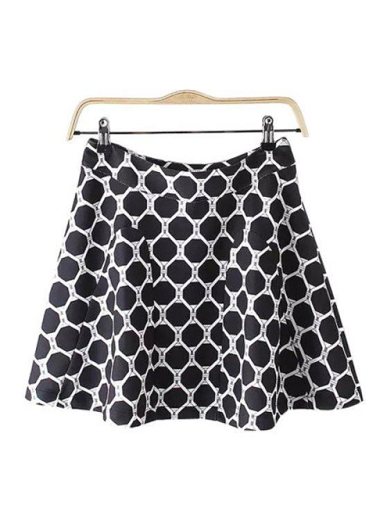unique Geometric Print A Line Skirt - WHITE AND BLACK M