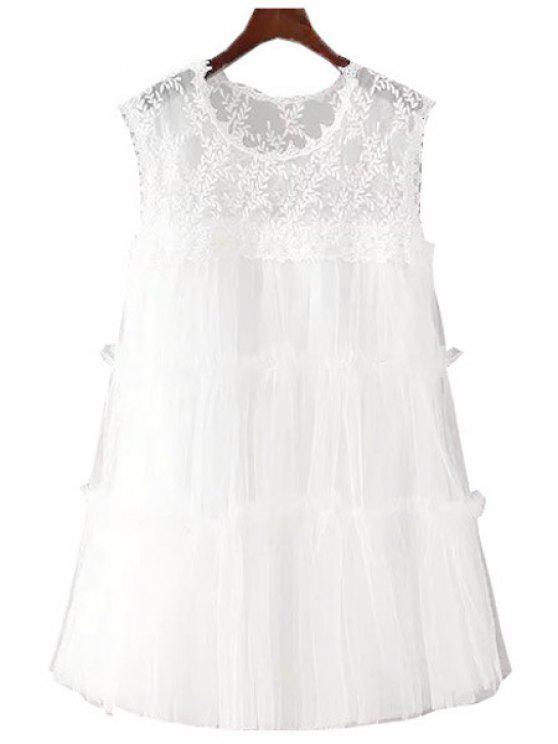 women White Lace Sleeveless A Line Dress - WHITE S