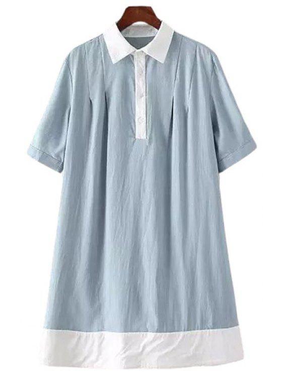 women Color Block Turn-Down Collar Short Sleeve Dress - BLUE S