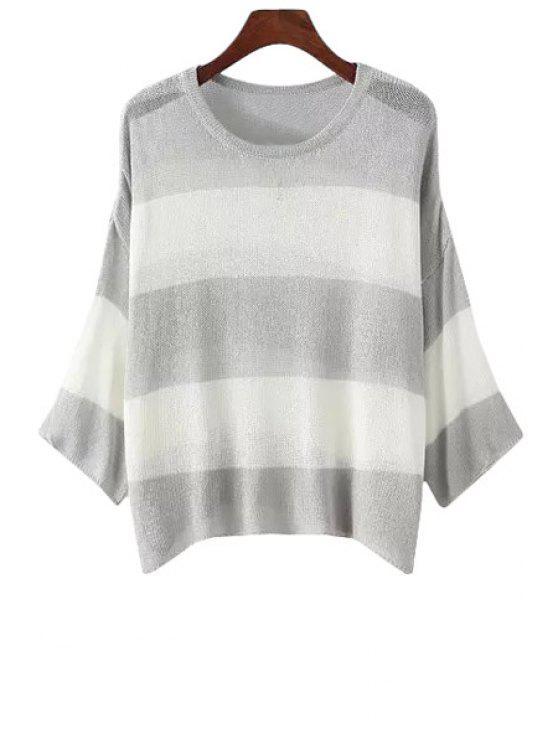 women Stripe Long Sleeve Scoop Neck Knitwear - GRAY ONE SIZE(FIT SIZE XS TO M)