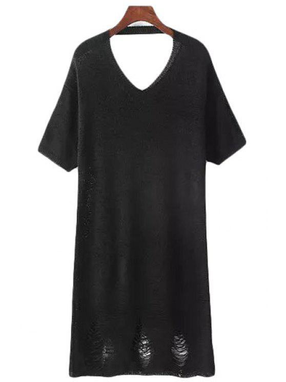 ladies Solid Color Short Sleeve V Neck Sweater Dress - BLACK ONE SIZE(FIT SIZE XS TO M)