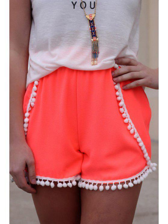 ladies Elastic Waist Spliced Laciness Shorts - PINK S