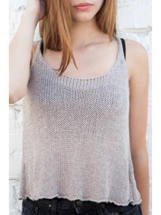 affordable Scoop Neck Solid Color Knit Tank Top - KHAKI ONE SIZE(FIT SIZE XS TO M)