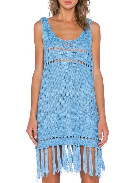 women's Openwork Tassels Splicing Blue Sweater Dress - BLUE ONE SIZE(FIT SIZE XS TO M)