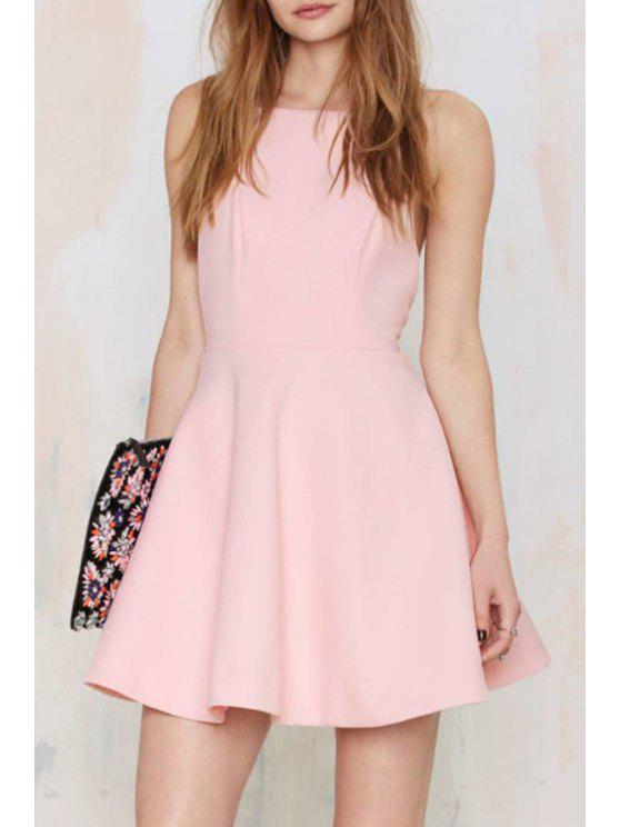 affordable Spaghetti Strap Hollow A-Line Pink Dress - PINK S