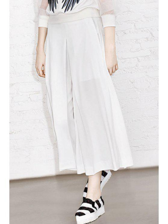 lady Solid Color Loose Fitting Zipper Fly Pants - WHITE S