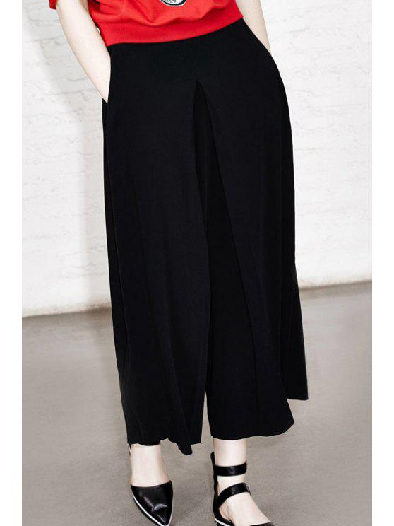 shop Solid Color Loose Fitting Zipper Fly Pants - BLACK M