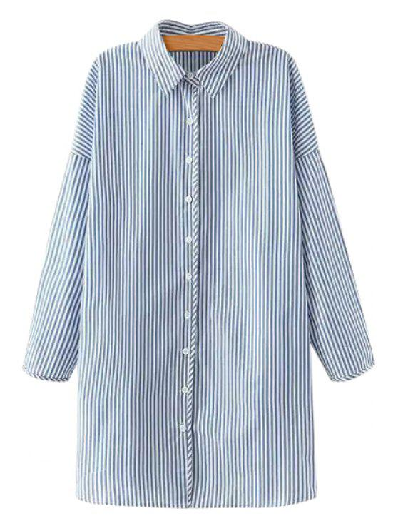 unique Polo Collar Blue White Stripe Long Sleeve Shirt - BLUE AND WHITE S