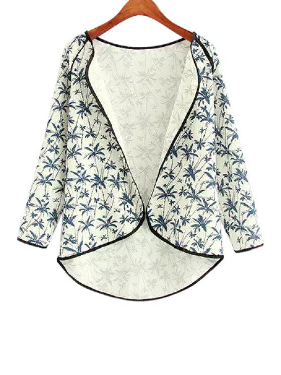 women Coconut Tree Print Asymmetrical Long Sleeve Blouse - BLUE AND WHITE S