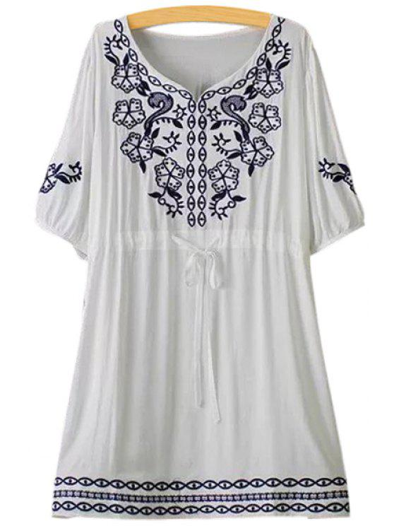 outfit Floral Embroidery Tie-Up Short Sleeve Dress - WHITE ONE SIZE(FIT SIZE XS TO M)