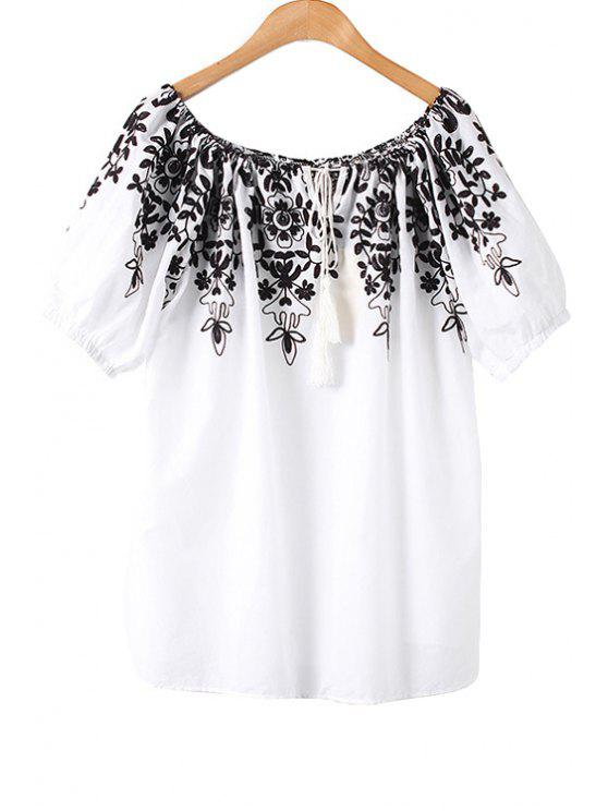 outfits Flower Embroidery Short Sleeve T-Shirt - WHITE M