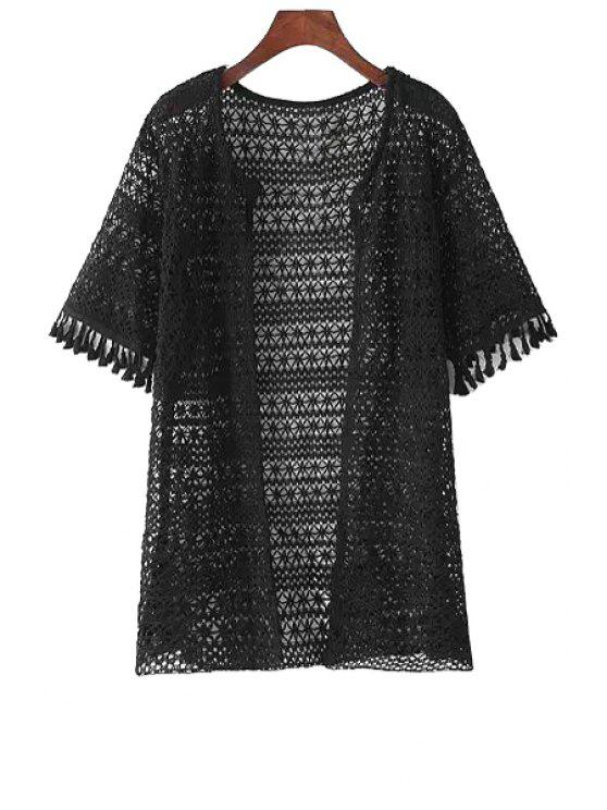 trendy Crochet Flower Collarless Solid Color Lace Blouse - BLACK ONE SIZE(FIT SIZE XS TO M)