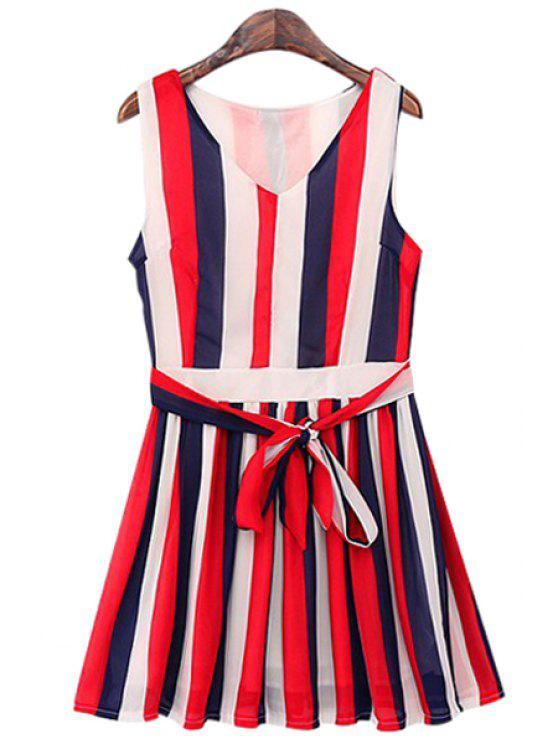 shop Color Block Striped Tie Knot Sleeveless Dress - RED ONE SIZE(FIT SIZE XS TO M)
