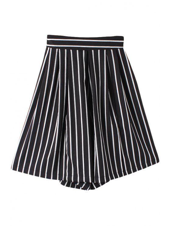 buy Striped Wide Leg Fifth Pants - BLACK M