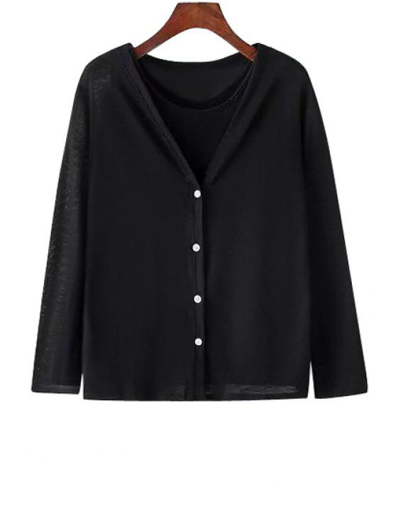 buy Stylish Round Neck Solid Color Tank Top + V-Neck Long Sleeve Cardigan Women's Twinset - BLACK ONE SIZE(FIT SIZE XS TO M)