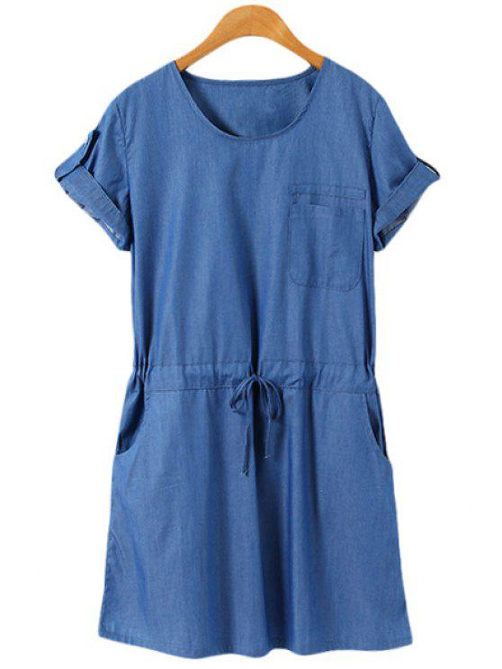outfits Short Sleeves Blue Denim Dress - BLUE S