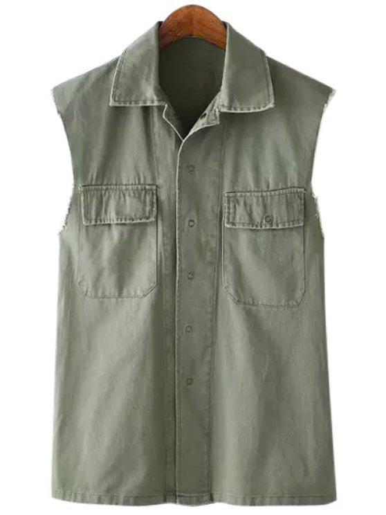 shops Pocket Back Letter Print Sleeveless Waistcoat - ARMY GREEN L